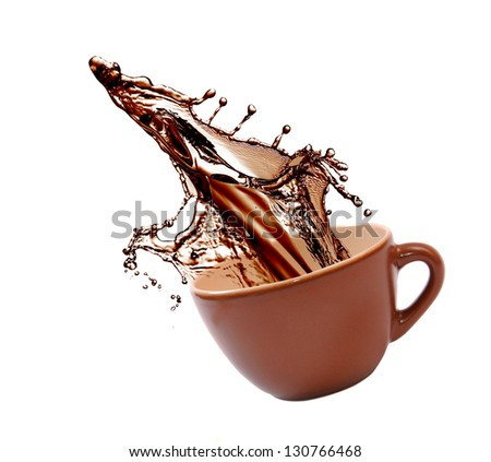 Cup of coffee with splash - stock photo