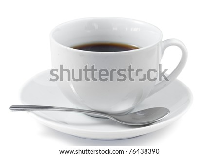 Cup of coffee with spoon and saucer on a white background
