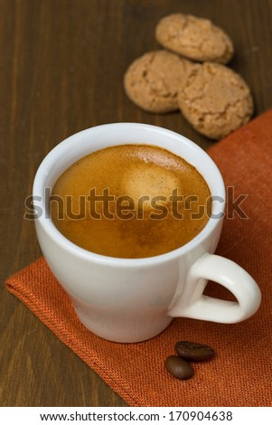 cup of espresso and biscotti cookies, top view - stock photo
