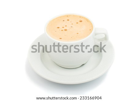cup of espresso coffee on a white background - stock photo