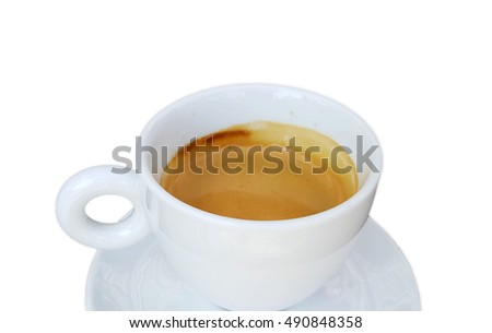 Cup of espresso coffee on white background