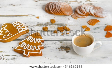 Cup of espresso coffee with Christmas cookies. View from above - stock photo