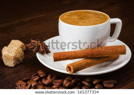 cup of espresso with cinamon