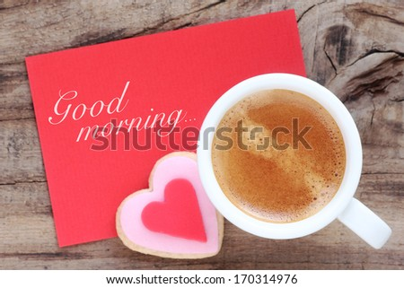 Cup espresso creamy foam romantic heart stock photo edit now cup of espresso with creamy foam with a romantic heart shaped cookie and a red greeting m4hsunfo