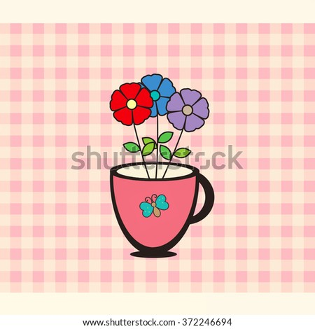 Cup of Flowers - stock photo
