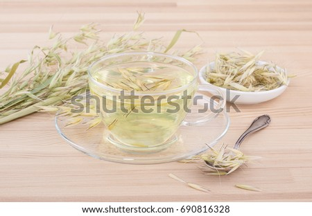 Cup of fresh oat tea / oat tea / healing tea
