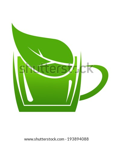 Cup of green bio beverage produced without harm to the environment in a sustainable manner for logo. Vector version also available in gallery