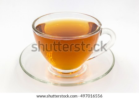 Cup of green tea isolated on white background