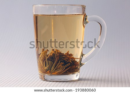 cup of green tea, white background - stock photo