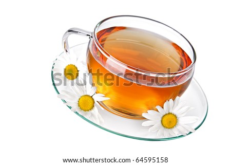 Cup of herbal tea with chamomile on white background
