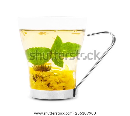 Cup of herbal tea with mint and flowers isolated - stock photo
