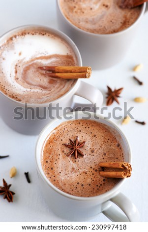 Cup of hot chai latte with spices like cinnamon, cardamon, cloves, star anise as a sweet warm winter dessert drink - stock photo