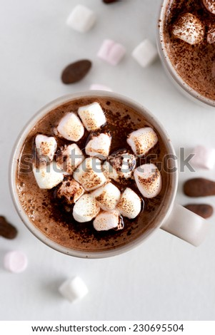 Cup of hot chocolate cocoa drink with toasted marshmallows, overhead milky choc dessert beverage - stock photo