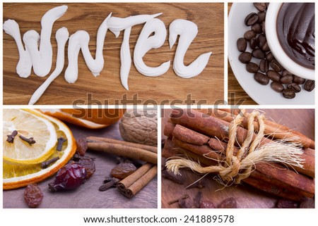 cup of hot chocolate ,dry spices, raisins, cinnamon, cloves, rose hips on a wooden background close-up - stock photo