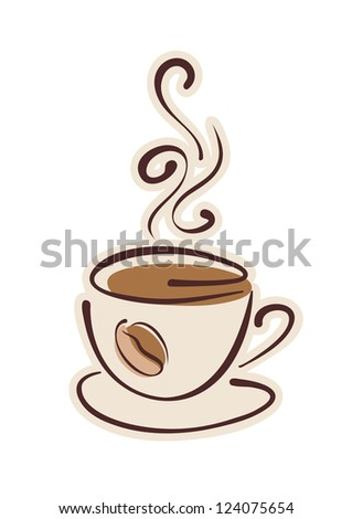 Cup of hot coffee and coffee bean. Raster illustration. Vector file included in portfolio - stock photo