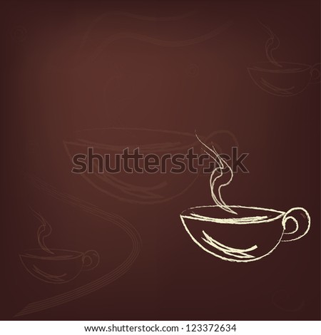 Cup of hot coffee at brown background