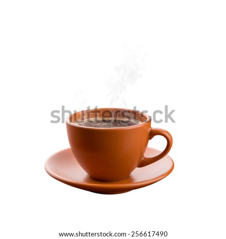 Cup of hot coffee isolated - stock photo