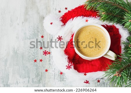 cup of hot coffee on a christmas holiday table. holidays and events - stock photo