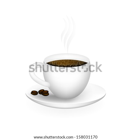 Cup Of Hot Coffee On A White Background