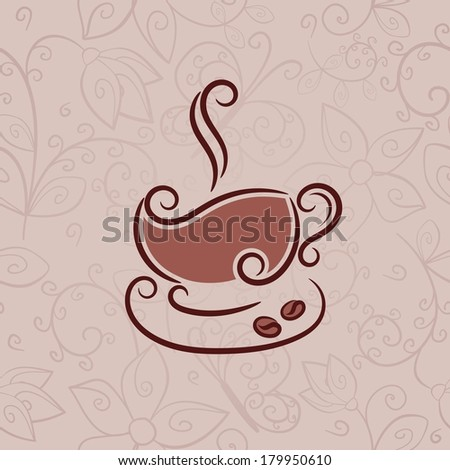 Cup of hot coffee. Raster version of vector. - stock photo