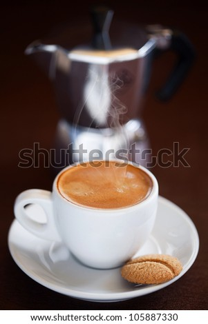 Cup of hot coffee, selective focus - stock photo