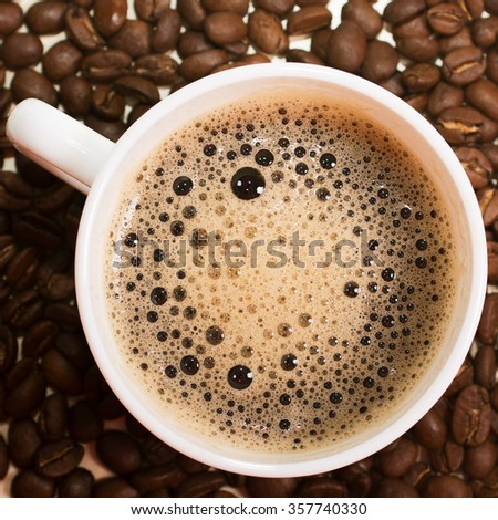 cup of hot coffee. top view. background
