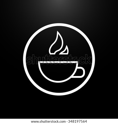 Cup of hot drink logo on a  black background - stock photo