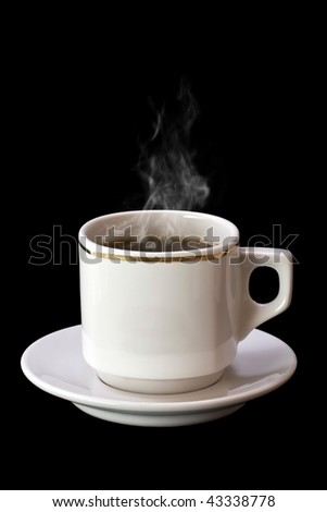 Cup of hot drink with steam over black background