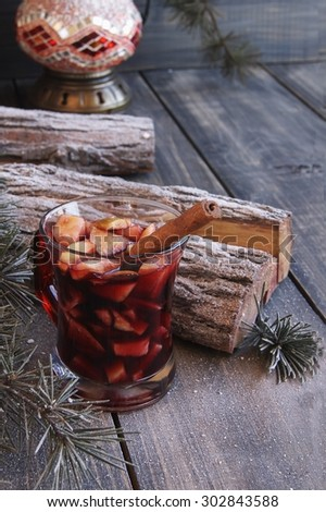 cup of hot mulled wine for Christmas and New Year - stock photo