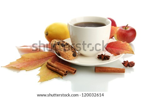 cup of hot tea and autumn leaves, isolated on white