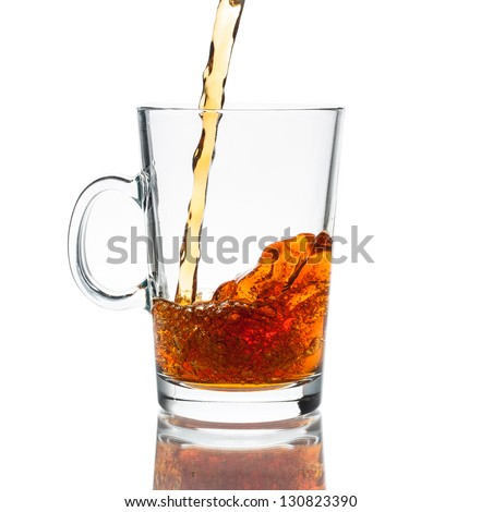 Cup of hot tea on a white background