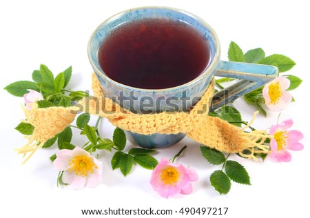 Cup of hot tea with wild rose wrapped woolen scarf and blooming flowers on white background