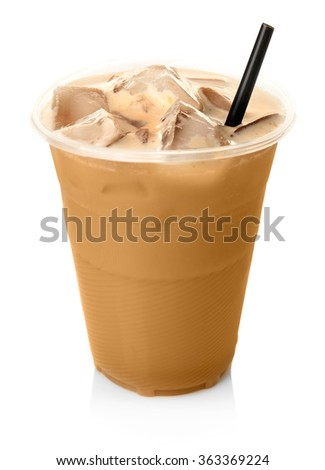 Cup of ice coffee with straw, isolated on white - stock photo