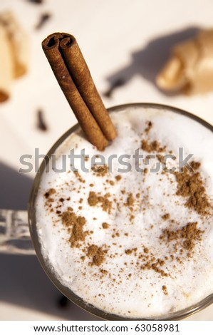 Cup of indian spicy chai latte - stock photo