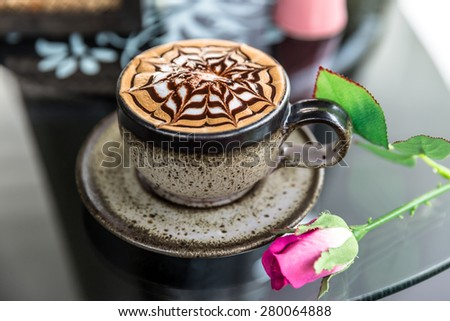 Cup of latte coffee, mocha coffee - stock photo