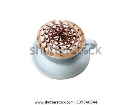cup of mocha coffee with foam isolated on white, top view - stock photo