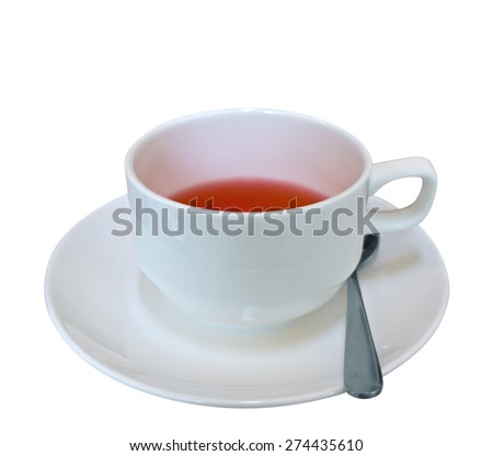 Cup of red fruit tea isolated on white. Clipping path included. - stock photo