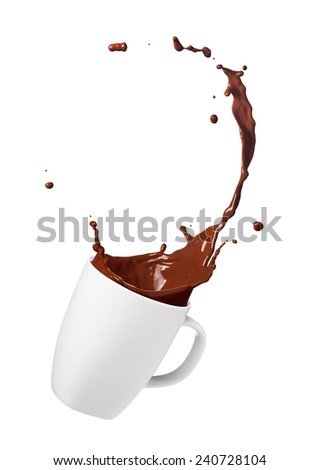 cup of spilling chocolate drink creating splash - stock photo