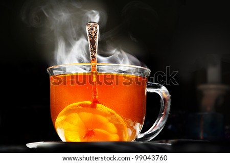 cup of steaming tea - stock photo
