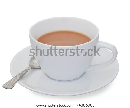 Cup of Tea.  A hot white cup of tea on a saucer with a teaspoon.