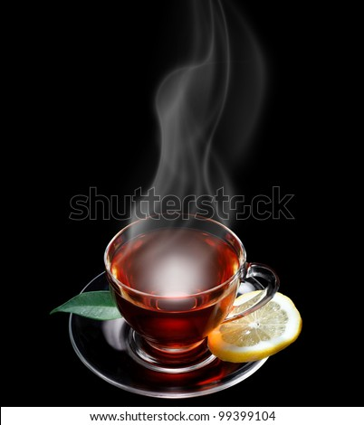 Cup of tea black background, space for text - stock photo