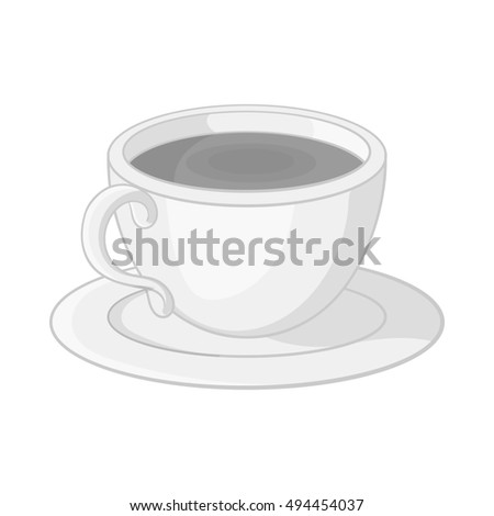 Cup of tea icon in black monochrome style isolated on white background. Drink symbol  illustration