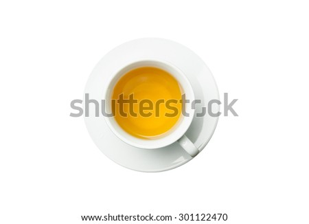 Cup of tea isolated on white background. - stock photo