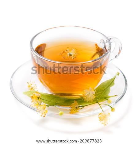 Cup of tea of linden, isolated on white background