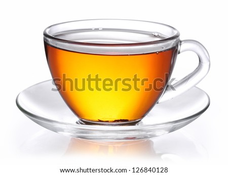 Cup of tea on a white background. Clipping path.