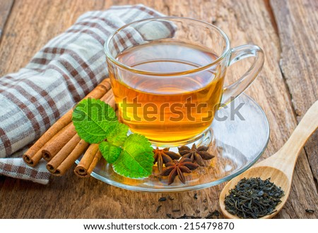 Cup of tea on wooden  - stock photo