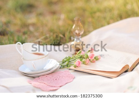 Cup of tea, open book, lamp, roses on cover outdoors - stock photo