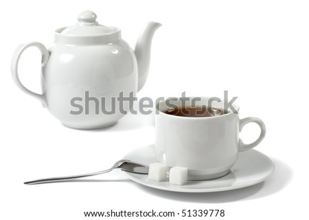 cup of tea, teapot, spoon and sugar isolated over white - stock photo