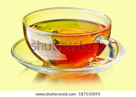 Cup of tea with lemon and mint leaves