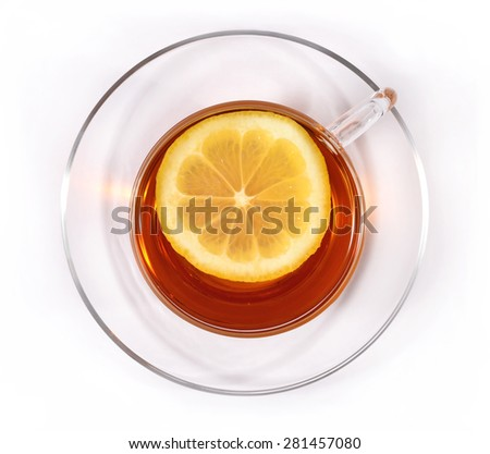 Cup of tea with lemon, top view  - stock photo